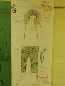 A group's representation of Ted Lavender from _The Things They Carried_.