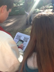Students use QR codes to conduct research and complete performance tasks during a visit to downtown Savannah.