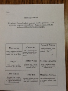 Mrs. Hollis Hill's Spelling Contract (Differentiated Spelling Assignment)
