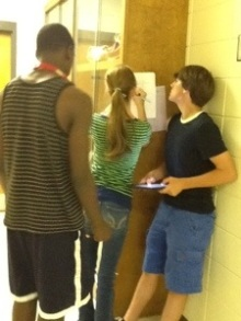 Freshmen students during their QR Code Scavenger Hunt on Shakespeare's Life and Times