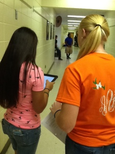 Students using QR codes and iPads to research Shakespeare