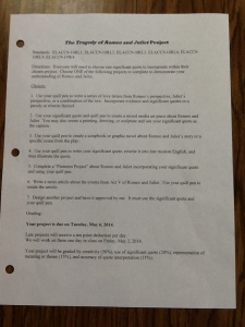 Differentiated Romeo and Juliet Assignment Sheet